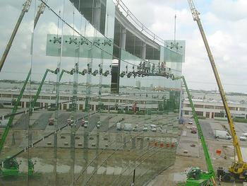 Bauvorhaben: Möbelhaus Augsburg Montage der Gläser  Gewicht pro Stück  750 kg